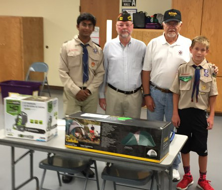 VFW Post 1581 donated 3 tents and other camping items to Boy Scout Troop 408