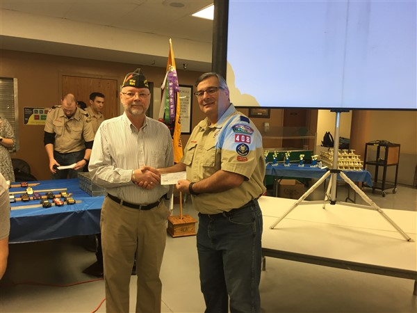 VFW Post 1581 presented a check to Cub Scout Pack 408.